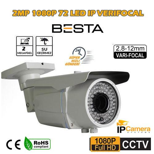 2 MP IR İp Kamera 2.8-12 Mm Varifocal Lens 72LEd BS-273