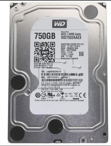 "Western Digital 3,5"" 750 GB 7200RPM 64MB WD7502AAEX"